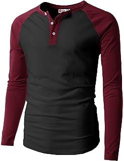 H2H para Hombre Casual Slim Fit Raglan Béisbol Three-Quarter Sleeve Henley  – Camiseta de d32baa3672c5d