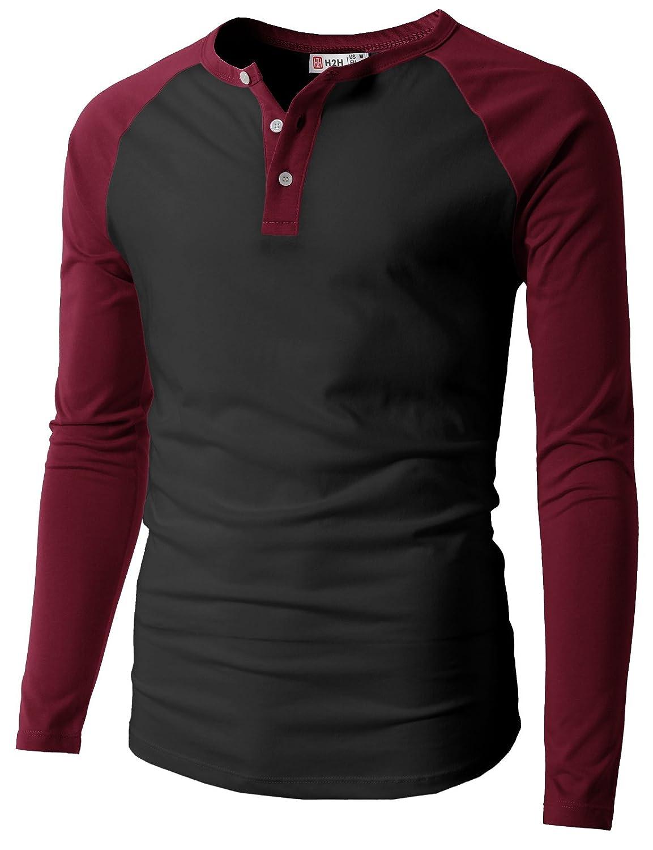 【H2H】ベーシック メンズ カジュアル ファッション オシャレ カラー ヘンリーネック 七分袖 ティーシャツ CMTTS0174 B01LA3YCEU xl|077 - ブラックワイン 077 - ブラックワイン xl