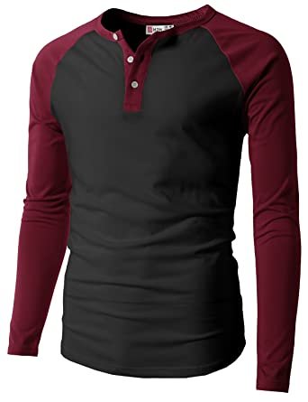 bc6df11250e H2H Mens Casual Slim Fit Henley T-Shirts Raglan Baseball 3 4 Sleeve ...