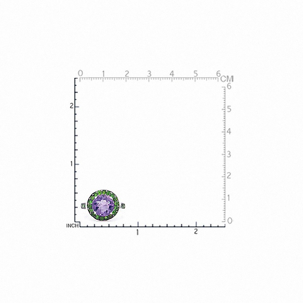 Silvershake 3.06ct. Natural Amethyst and Chrome Diopside White Gold Plated 925 Sterling Silver Cocktail Ring