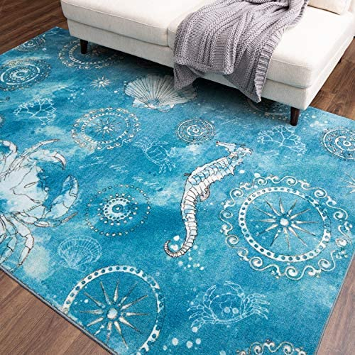 Mohawk Home Coastal Splash Aqua Area Rug