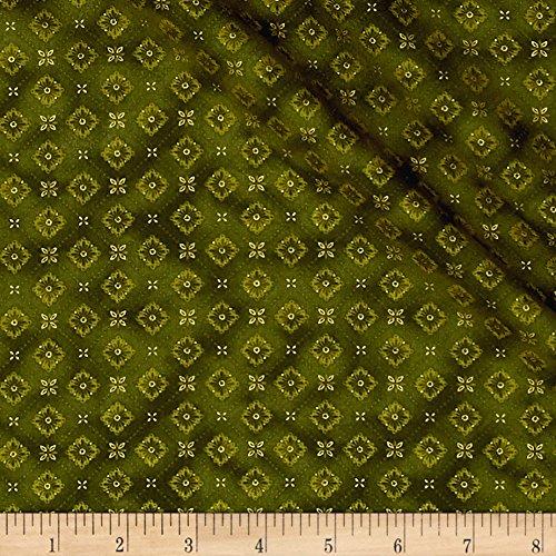 Fabric Green Harvest (Fabri-Quilt Bountiful Harvest Medallions Metallic Fabric by the Yard, Green)