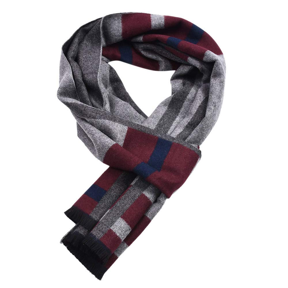 Anglewolf Men's Contrast Color Scarf Big Plaid Stripe Design Soft Shawl Winter Wool Knitted Warm Neckerchief Wrap Neckwear with Gift Fashionable Striped Knit Long Softer Feel Touch Solid