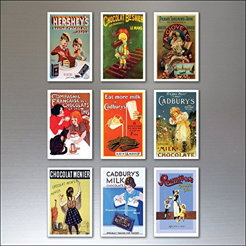 (9 Chocolate Vintage Advertising Poster Fridge Magnets - Shabby, Chic, Retro)