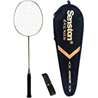 Senston Single Badminton Racket S-200 Graphite Carbon Badminton Racquet (Pink/Gold/Black/Blue/Green) with Premium Quality Protective Racket Cover and Overgrip