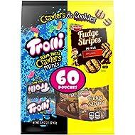 Trolli Sour Brite Crawlers & Fudge Stripes Snack Variety Pack, 60 Count