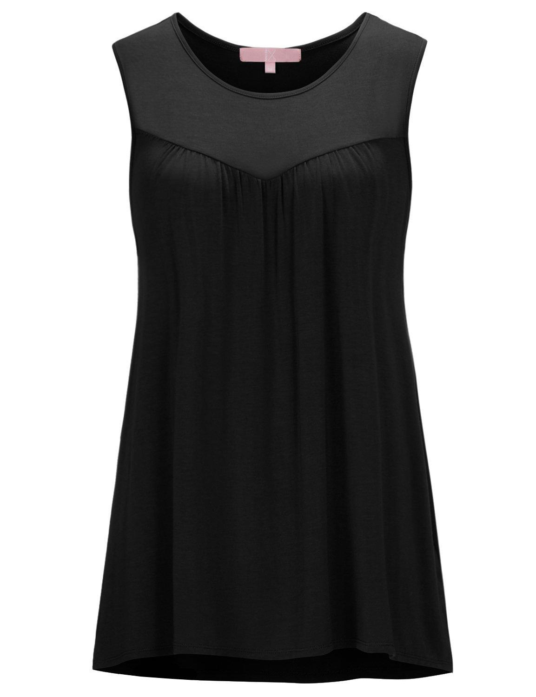 Regna X Women's Sleeveless Crew Neck Irregular Hem Loose Tunic Tank Top Black XL