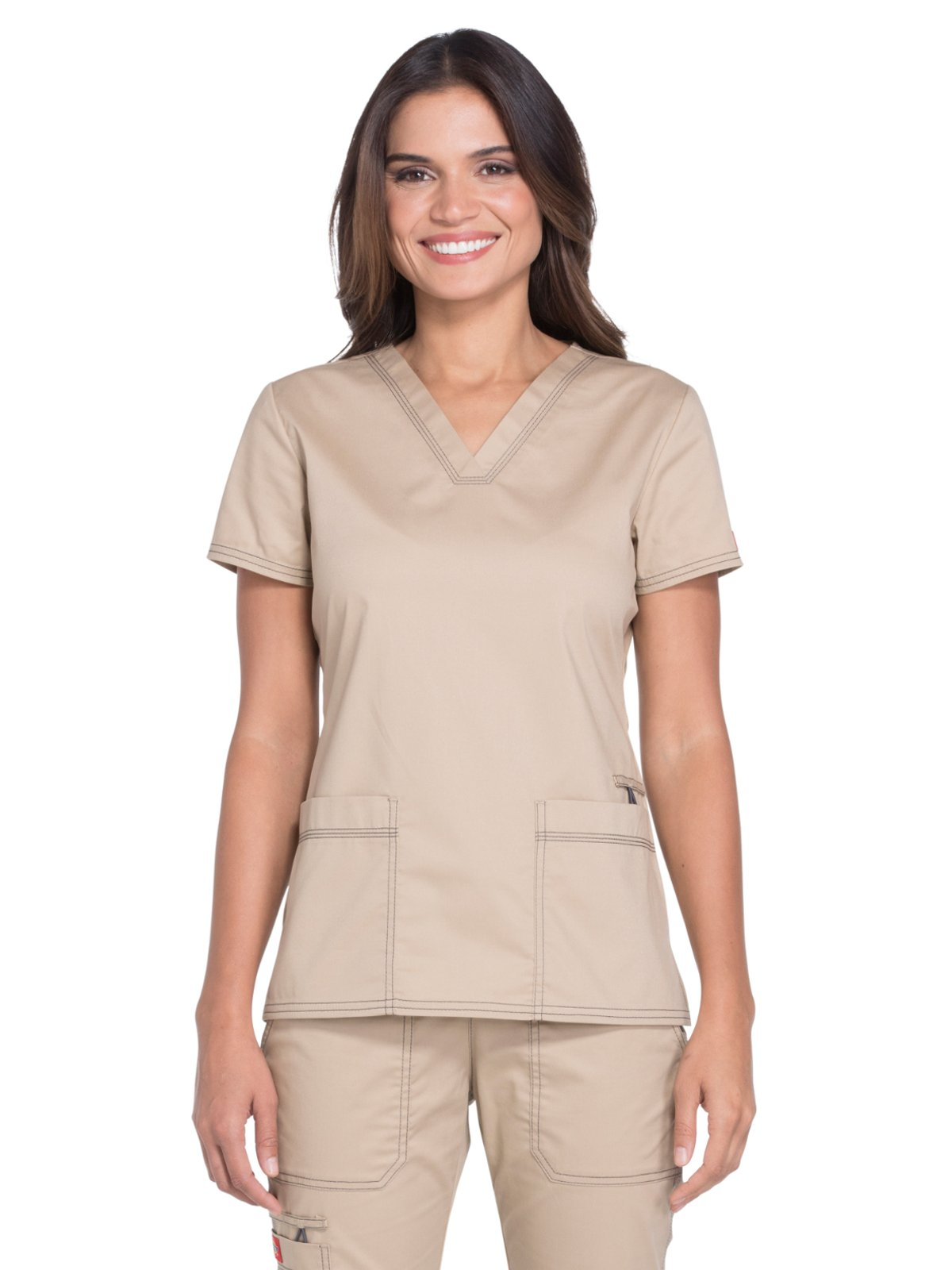 Dickies Gen Flex by Women's V-Neck Solid Scrub Top Small Dark Khaki