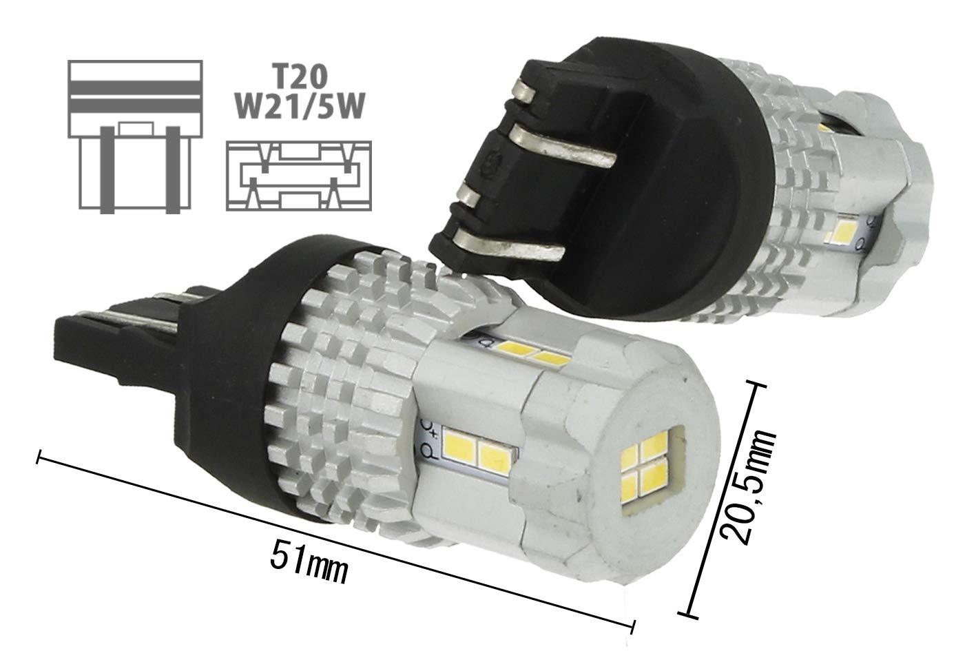 lámpara LED T20 7443 W21/w 12 SMD 3020 Blanco Super luminoso Luces ...