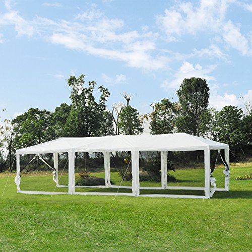 Outsunny 10' x 30' Gazebo Canopy Cover Tent with Removable Mesh Side Walls - White (Open Gazebo)