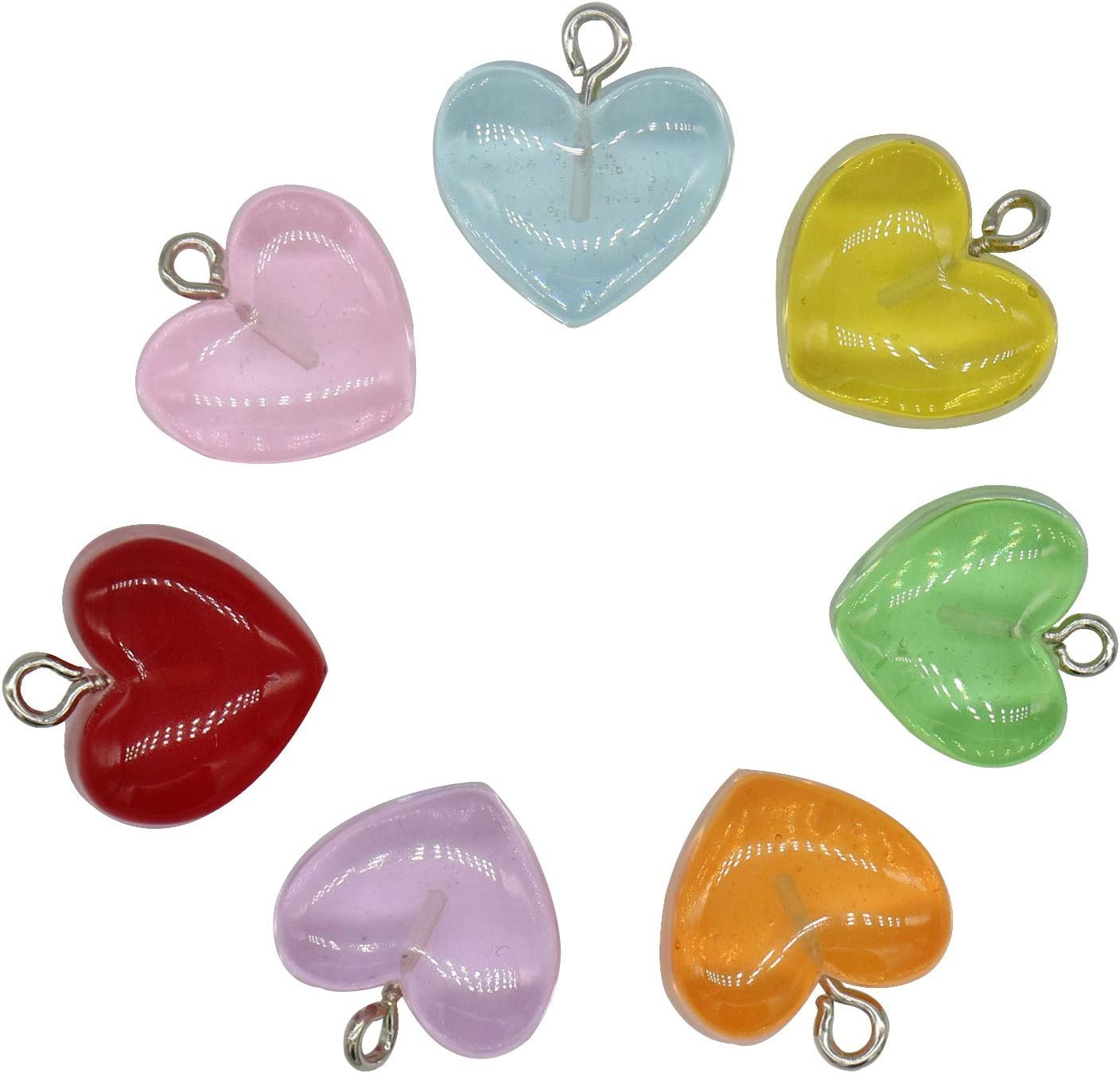 Gummy Heart Charms Pendant Colorful Love Heart Candy Valentines Day Pendant Charm Keychains Necklace Earring Pendant for DIY Jewelry Crafts Supplies