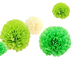 12pcs 8inch 12inch Birthday Tissue Diy Paper Flower Pom Poms Kit Cream Lime Green Ball Theme Party Indoor Wedding Baby Shower Nursery Room Hanging Decorations