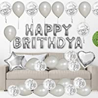 ANEAR Silver Birthday Decorations Party Supplies Set (50 PC), Balloons, Tassels, Banner, Dispensing, Pump for Birthday…
