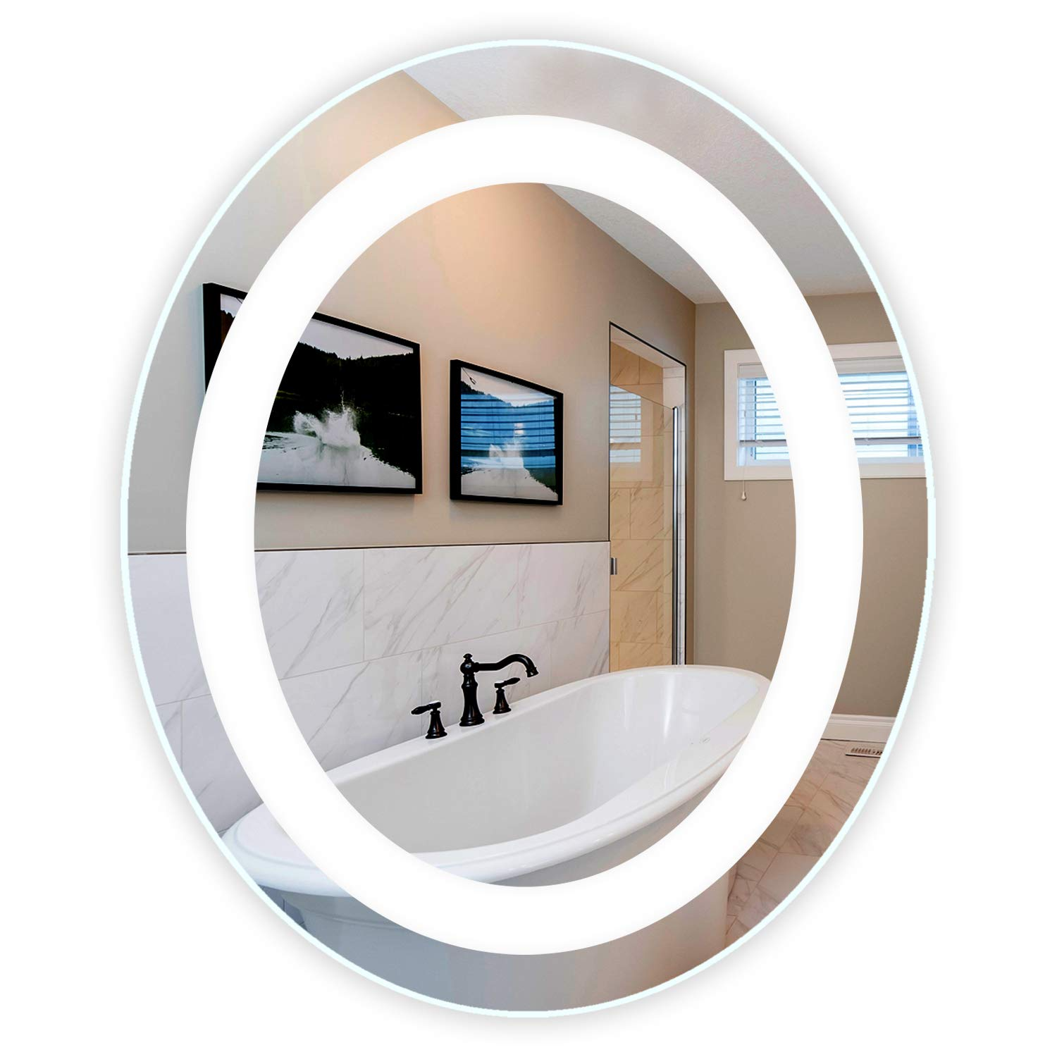 LED Front-Lighted Bathroom Vanity Mirror: 30'' Wide x 36'' Tall - Commercial Grade - Oval - Wall-Mounted