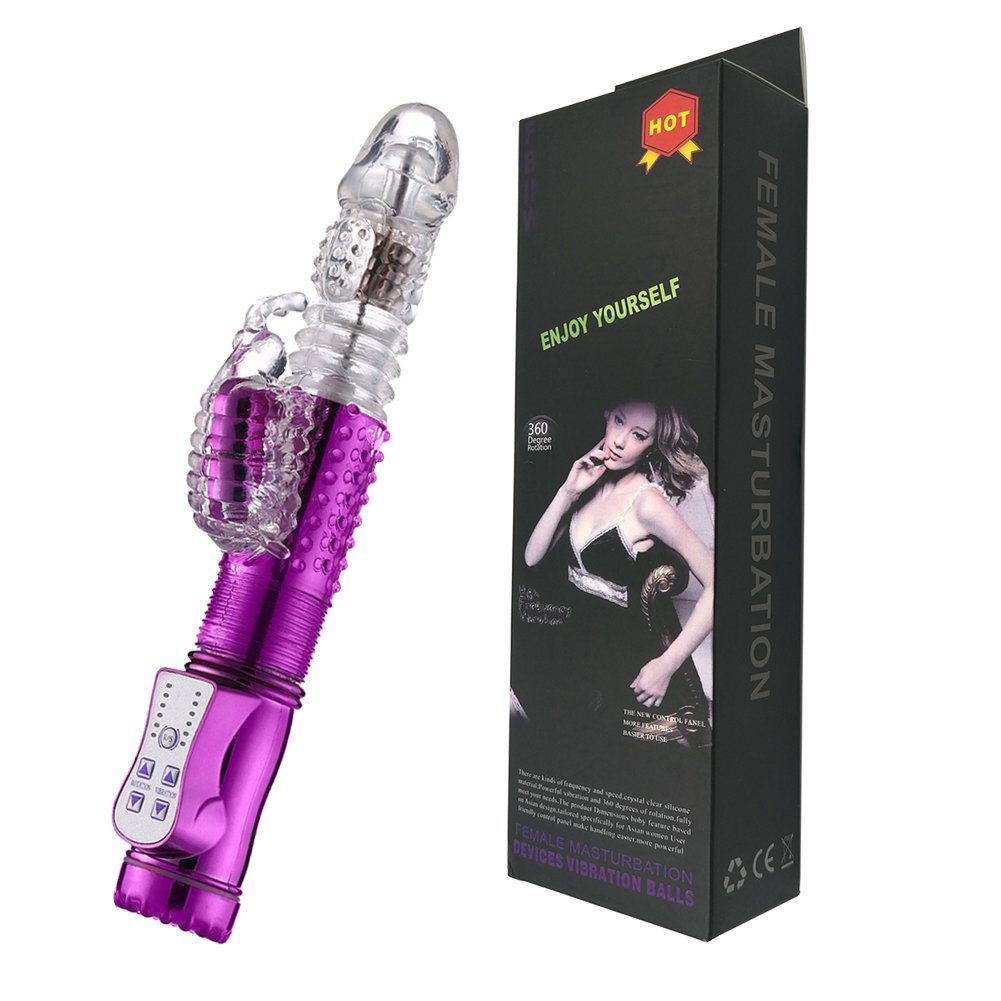 AVSENS-ni 12 Speeds Thrusting Rotating Viberate Large Size Rabbit Toys for Women Pleasure Sport Goods (Purple)