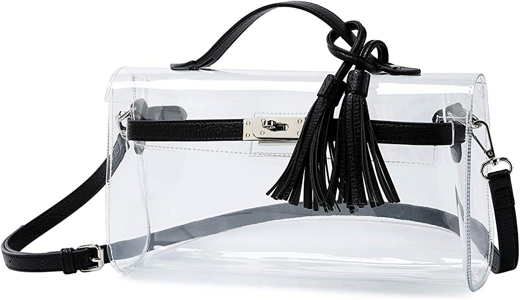 9d1b8dc437b ... Bags Transparent Clutch Handbags for Working. Lam Gallery Womens Clear  Purse Shoulder Crossbody Bag See Through PVC Handbags for Work NFL Stadium