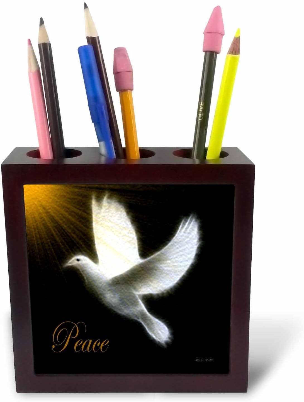 3dRose ph_6580_1 Peace Dove-Black/White/Gold Bird Art-Tile Pen Holder, 5-Inch