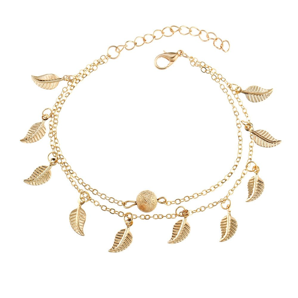 Summer Beach Double Leaves Foot Chain Anklet - Beads Anklets Gothic Jewelry (GOLD)