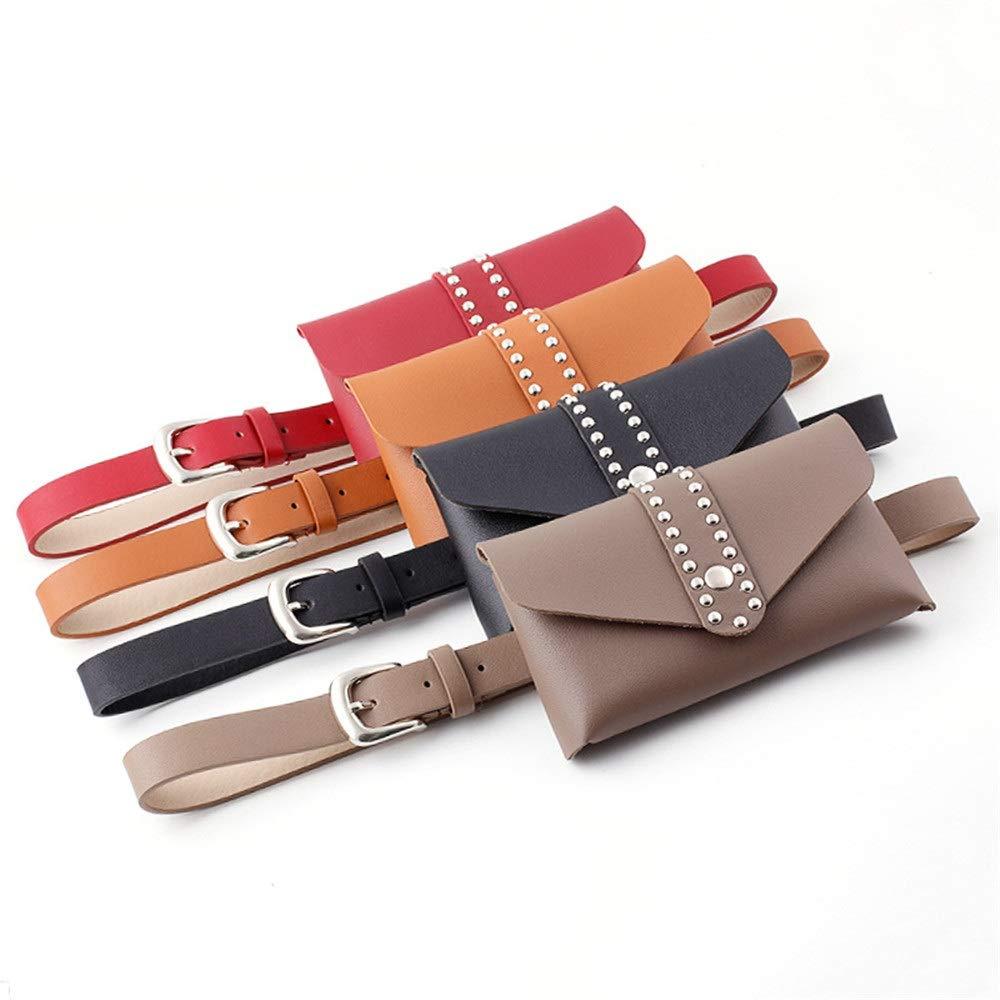 FeliciaJuan Women Mini Belt Bags Metal Rivet Snap Waist Bag PU Leather Fanny Pack Removable Belt with Waist Pouch Travel Sports Bumbag Cell Phone Money Pouch Color : Khaki