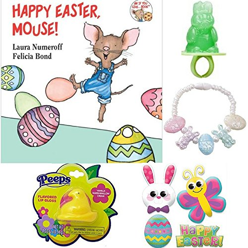 Happy Easter, Mouse! Bundle w/ 4 Easter Basket Fillers Peeps Flavored Lip Gloss in Chick Container (Yellow), Easter Ring Pop (Watermelon), Pastel Easter Egg & Bunny Bracelet, Easter Puffy (Lip Pastel)