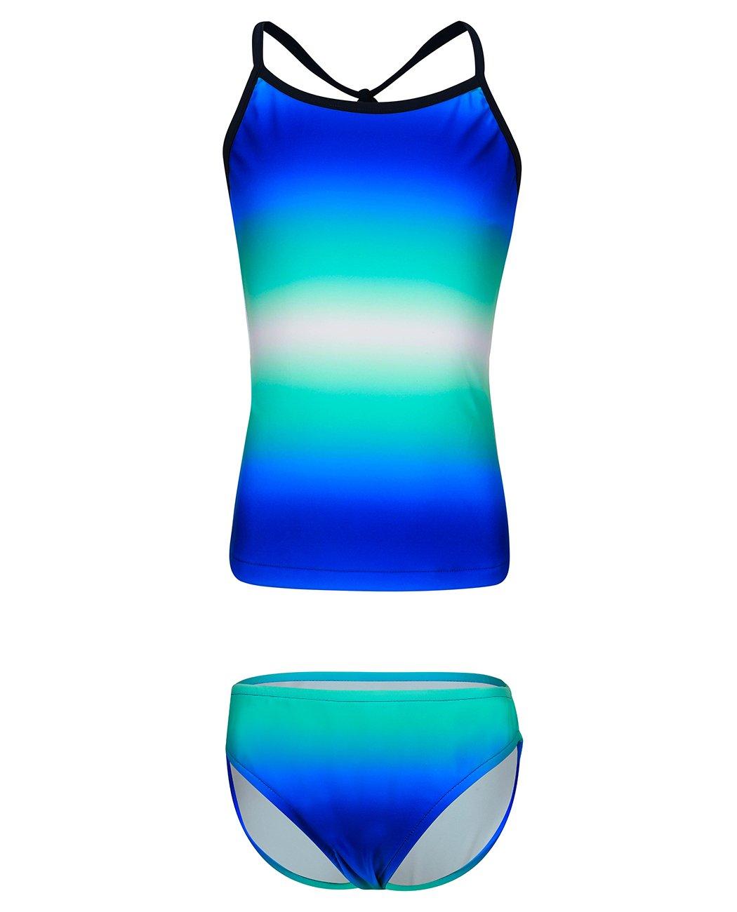 iDrawl Girls Bathing Suit, Two Piece Beach Swimsuit Gradient Blue Stripe Swimwear