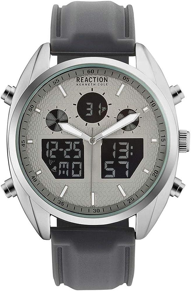 Kenneth Cole Reaction RK50550004 - Reloj de pulsera para hombre, color plateado y gris
