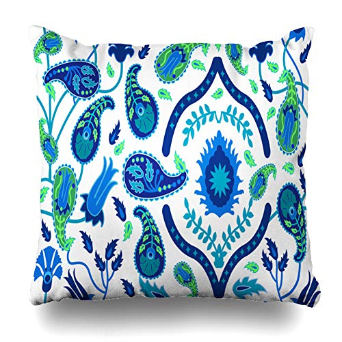Ahawoso Throw Pillow Cover Geometric Blue Arabesque Abstract Floral Arabic Motifs Pattern Architectural Blossom Carpet Design Home Decor Pillowcase Square Size 18 x 18 Inches Zippered Cushion Case (Line Cape Architectural)