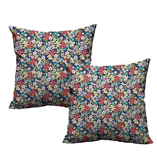 warmfamily Living Room Sofa Hug Pillowcase Floral Ornamental Flourishing Blossoms Mixed Botanical Beauty Fragrance Celebration Image Suitable for Hair and Skin Health W16 xL16 2 pcs from RuppertTextile