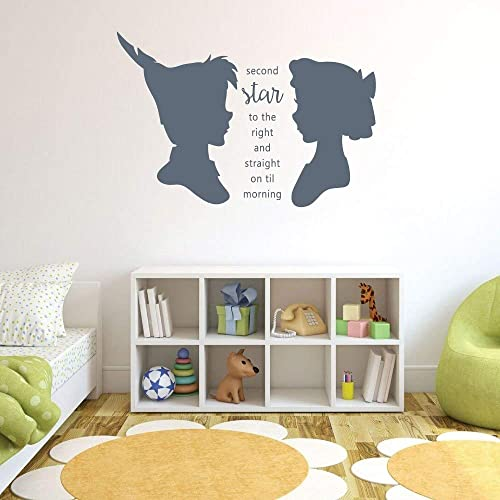 Amazon Com Peter Pan Wendy Vinyl Wall Decor Second Star To The Right Characters Nursery Playroom Or Bedroom Home Design Handmade