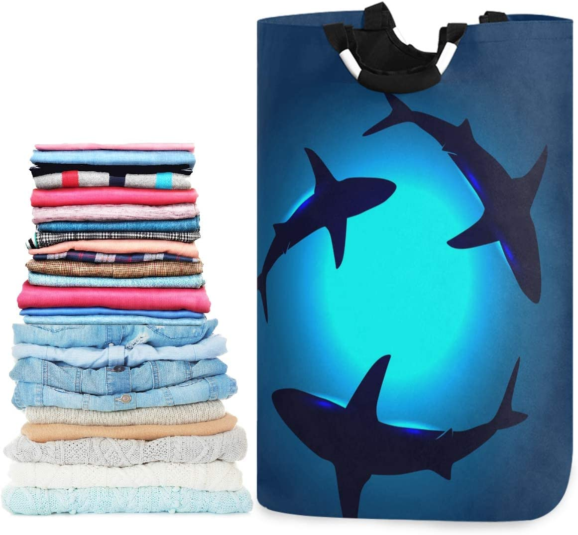 visesunny Floating Shark Large Laundry Hamper with Handle Foldable Durable Clothes Hamper Laundry Bag Toy Bin for Bathroom, Bedroom, Dorm, Travel