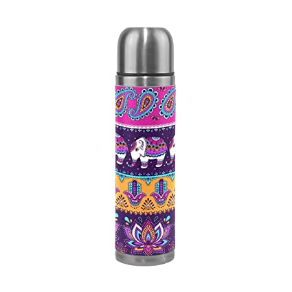 ALAZA 17 Oz Indian Elephant Lily Paisley Double Wall Vacuum Cup Insulated Stainless Steel PU Leather