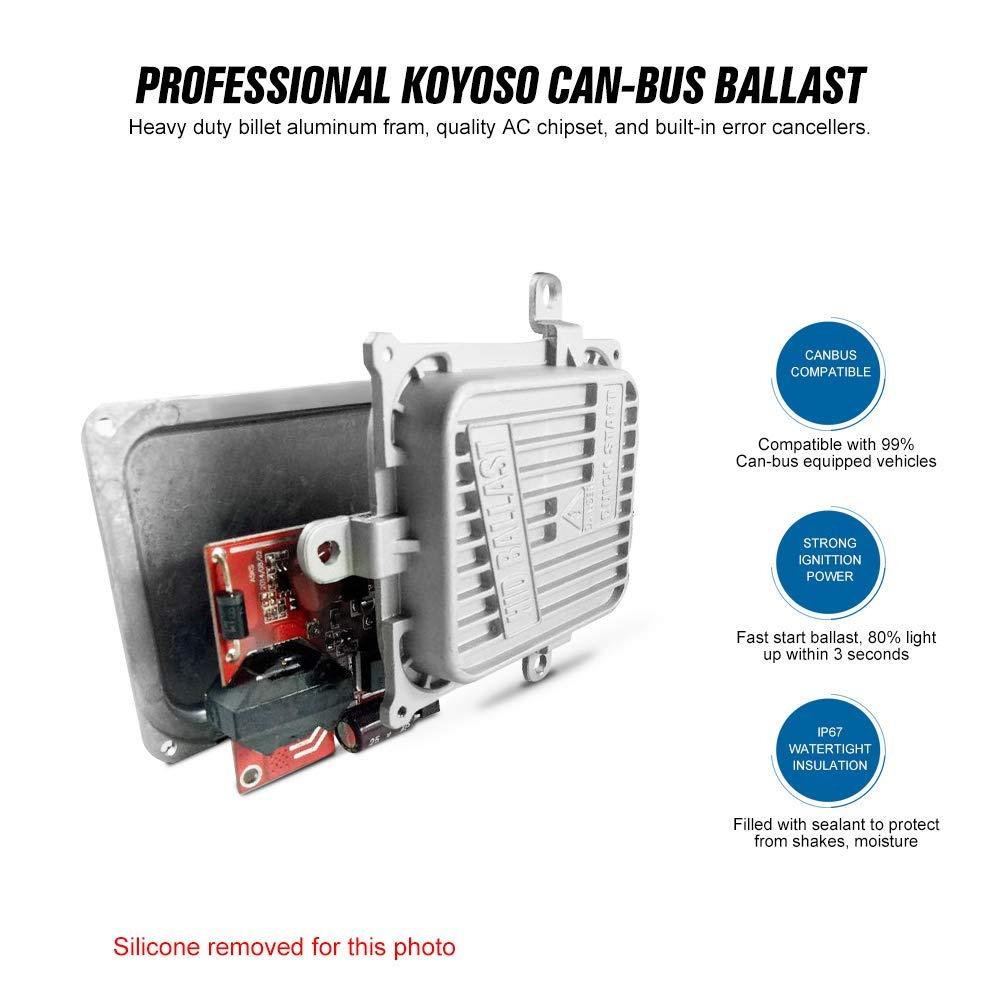 Koyoso Canbus Xenon H7 Kits de Conversion HID 55W Super D/écodeur Ballasts V/éhicule Rapide Lumineux Feux Phare Ampoules de Rechange Pour Voiture 8000K