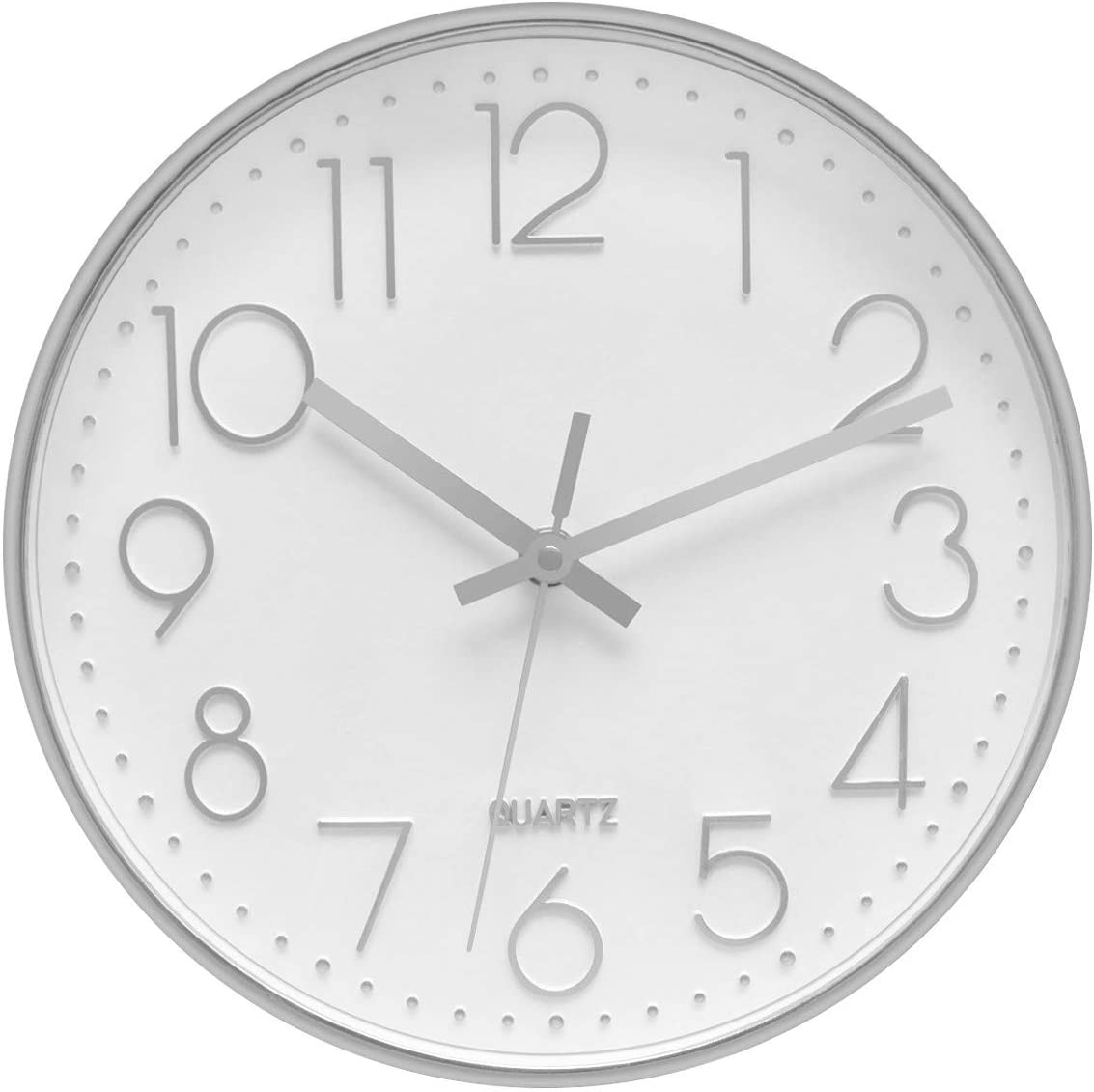 Foxtop Modern Silent Non Ticking Decorative Silver Wall Clock Battery Operated For Office School Home Living Room 12 Inch 30 Cm Amazon Co Uk Kitchen Home