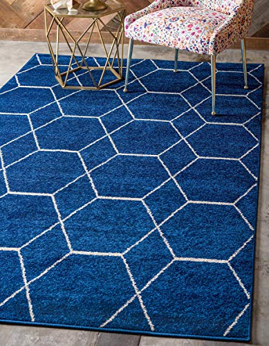 Unique Loom Trellis Frieze Collection Lattice Moroccan Geometric Modern Navy Blue Area Rug (8' 0 x 11' 0)]()