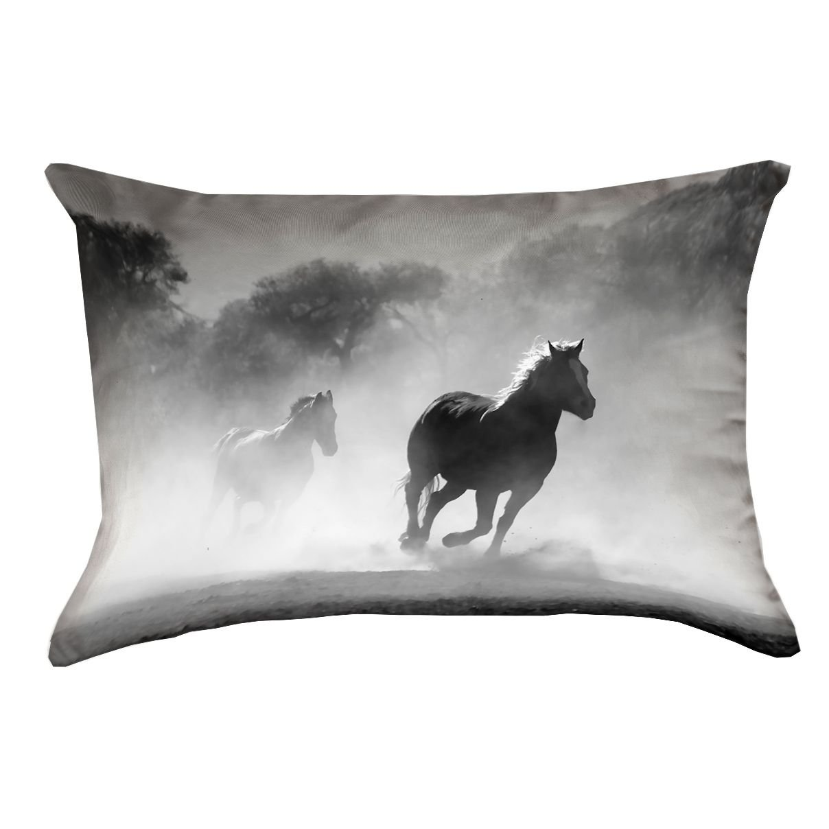 Pillow Cover Only Pillow-Faux Suede Double Sided Print with Concealed Zipper ArtVerse Bhakti Iyata Galloping Horses x 26 x26