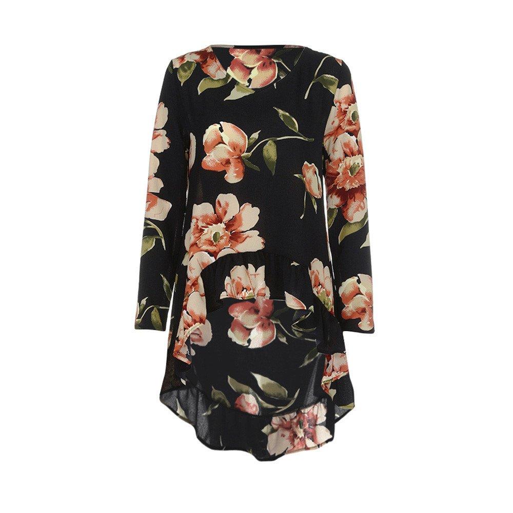 ❤ Blusas Elegantes Mujer,Modaworld Camisa de Manga Larga Estampado Floral de Mujer Blusa Casual Volantes Tops Irregulares Camiseta Señoras: Amazon.es: ...