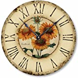 Item C1120 Vintage Style 10.5 Inch French Floral Clock For Sale
