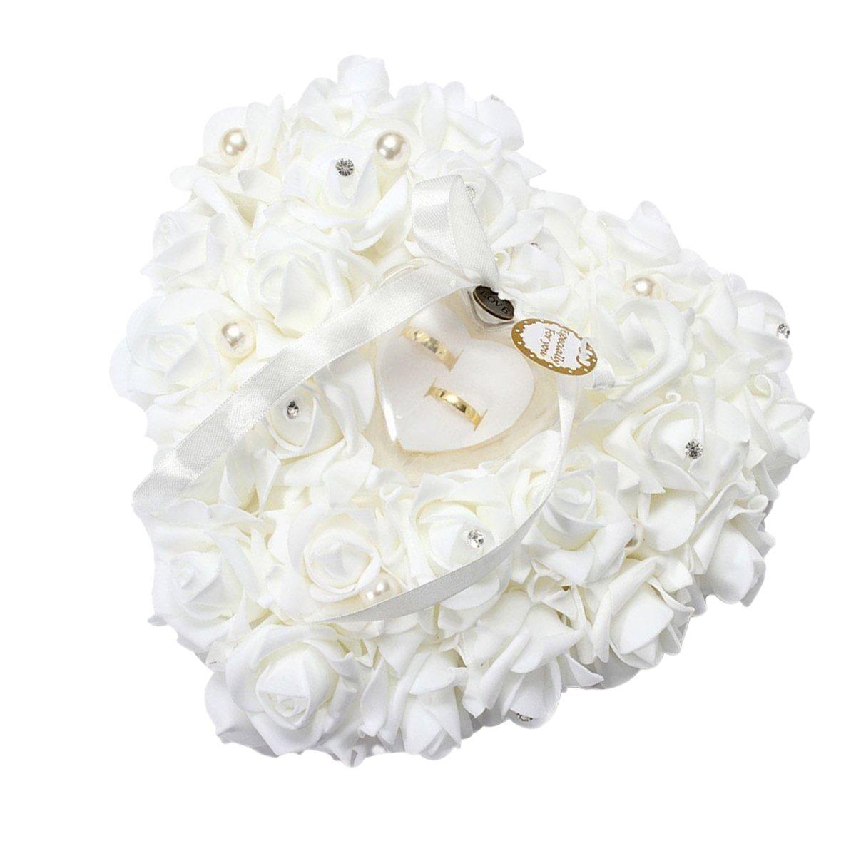 Yosoo 15x13cm Blanc romantique Wedding Rose Anneau Box Rose Coeur Favors Wedding Ring oreiller avec bijoux élégants cas Accessoires de mariage en satin Flora Yosoo-33-2