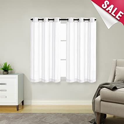 Exceptionnel Kitchen Tier Curtains 45 Inch White Striped Cafe Curtains Sheer Tier  Curtains For Bathroom Grommet Top