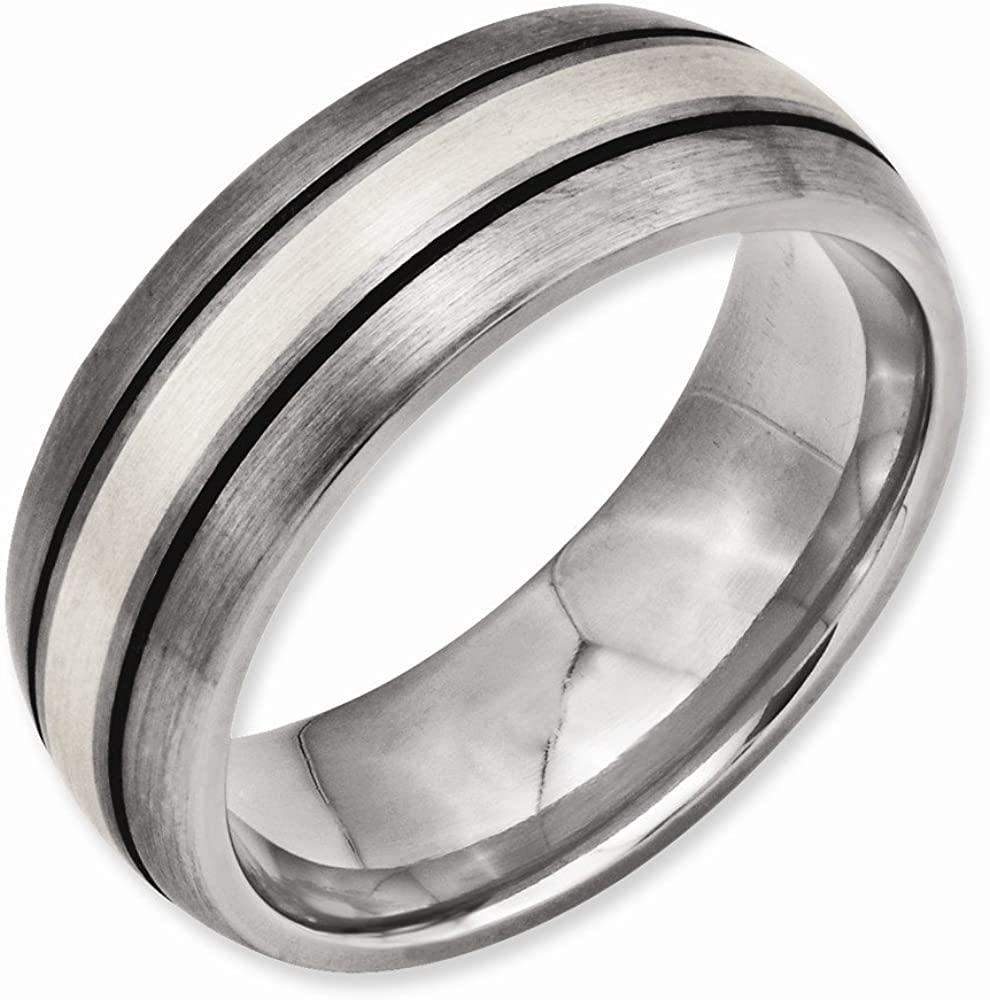 Best Quality Free Gift Box Titanium Grooved Sterling Silver Inlay 8mm Brushed//antiqued Band
