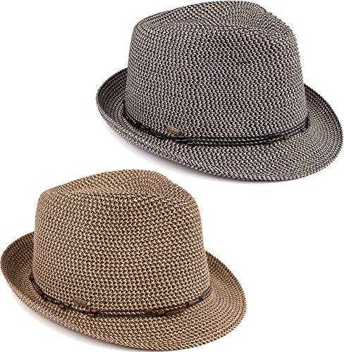 H-6108-2-5030607 Fedora Bundle: 2 Pack - Black & Brown w/Beaded Ropes (Hat Fashion Beaded)