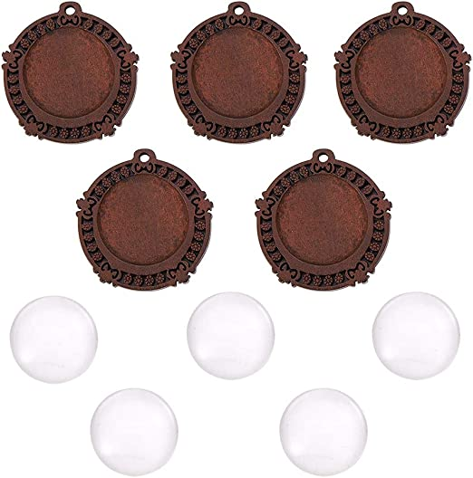 20x Brown Round Wooden Cameo Base Settings Blanks Tray DIY Pendant 25//30mm