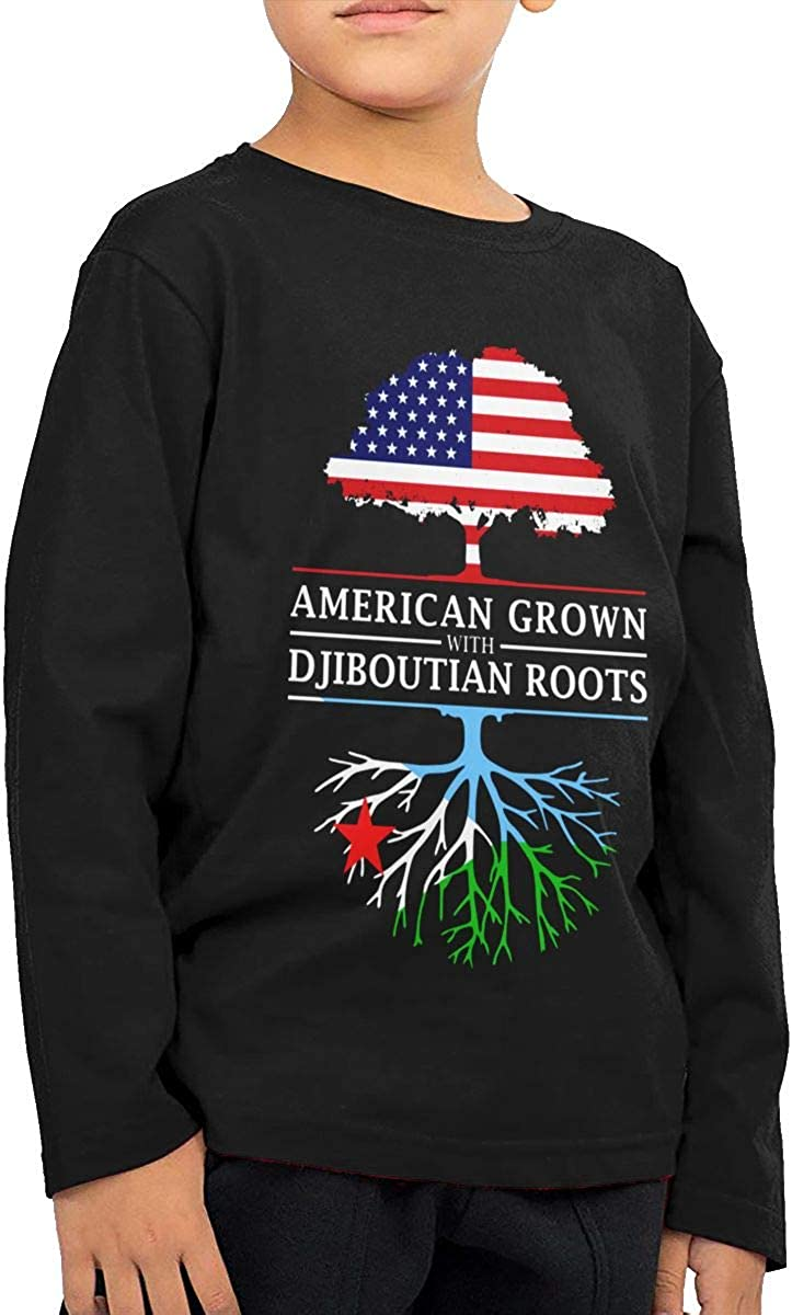 HADYKIDSLOVE American Grown with Djiboutian Roots Kids T-Shirt Long Sleeve Boys Girls T-Shirt