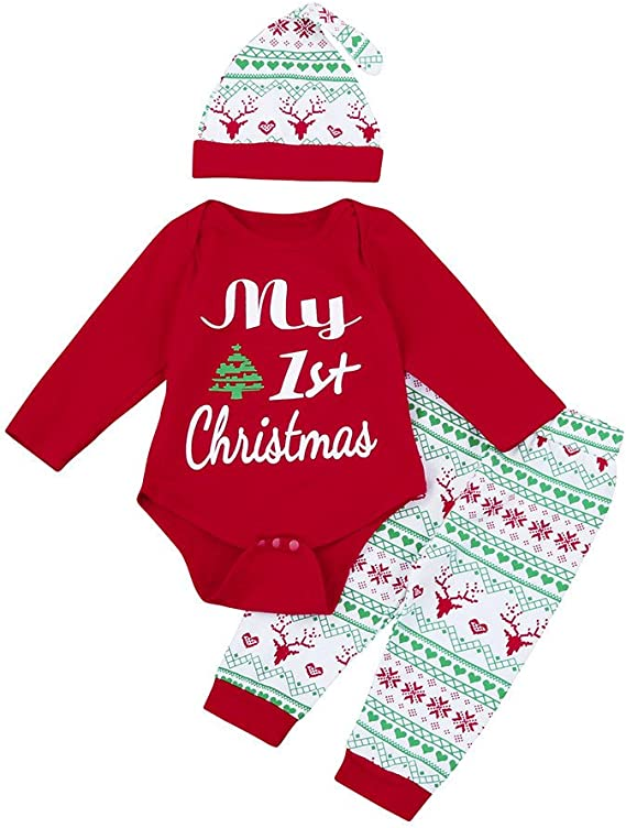3pc/ Baby Girls/ Clothes,Long Sleeve My First Christmas Romper+Cute Deer Dress Outfit Set