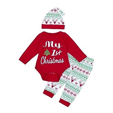 Burfly Baby Christmas Clothes Baby Boys Girls Christmas Trees Print