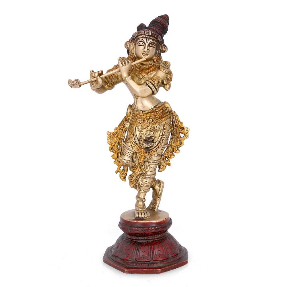 Aone India Dancing Krishna Brass Statue Hindu God of Love Divine Joy Sculpture + Cash Envelope (Pack Of 10)