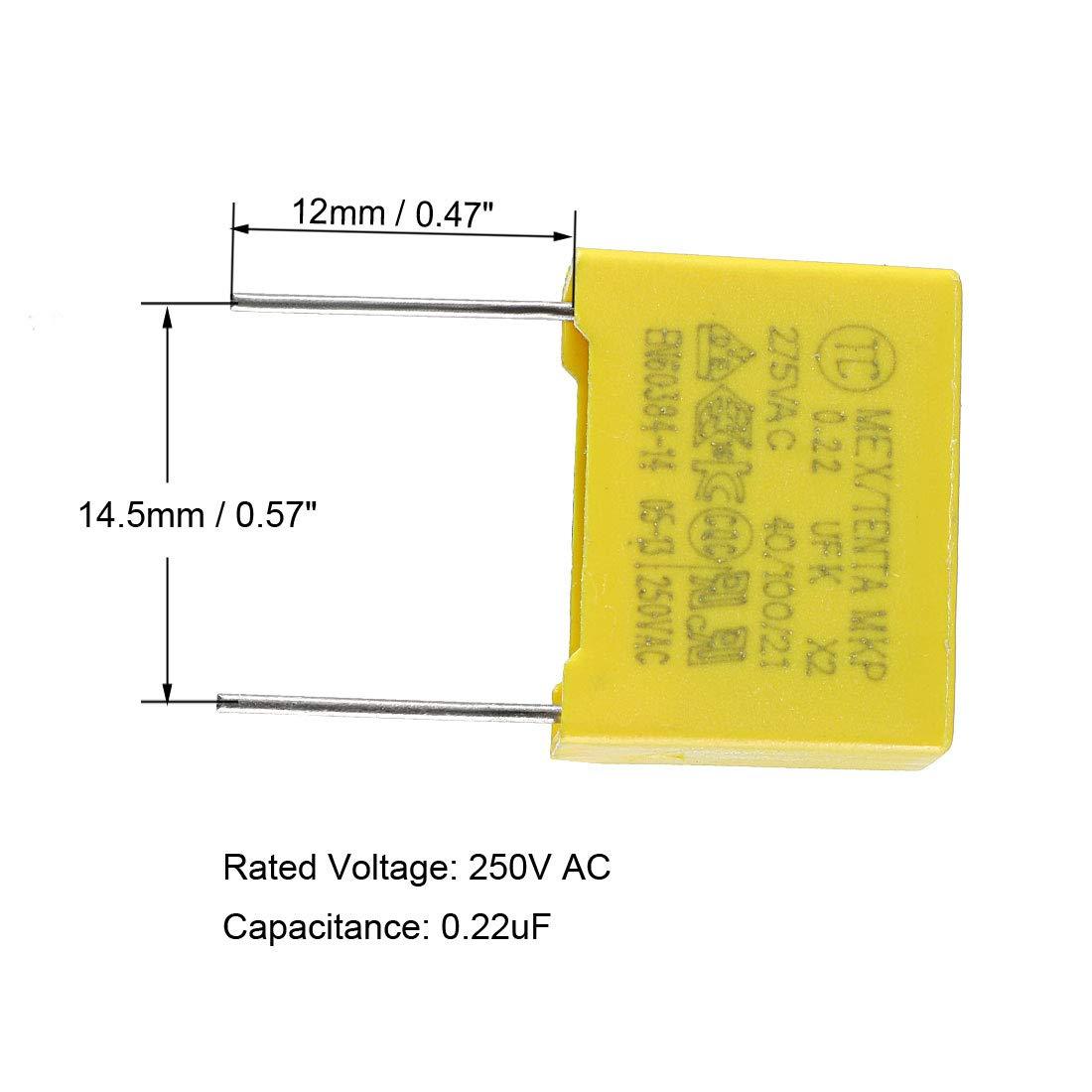sourcing map Film polypropyl/ène Condensateur s/écurit/é 2.2uF 275VAC X2 MKP 20Pcs