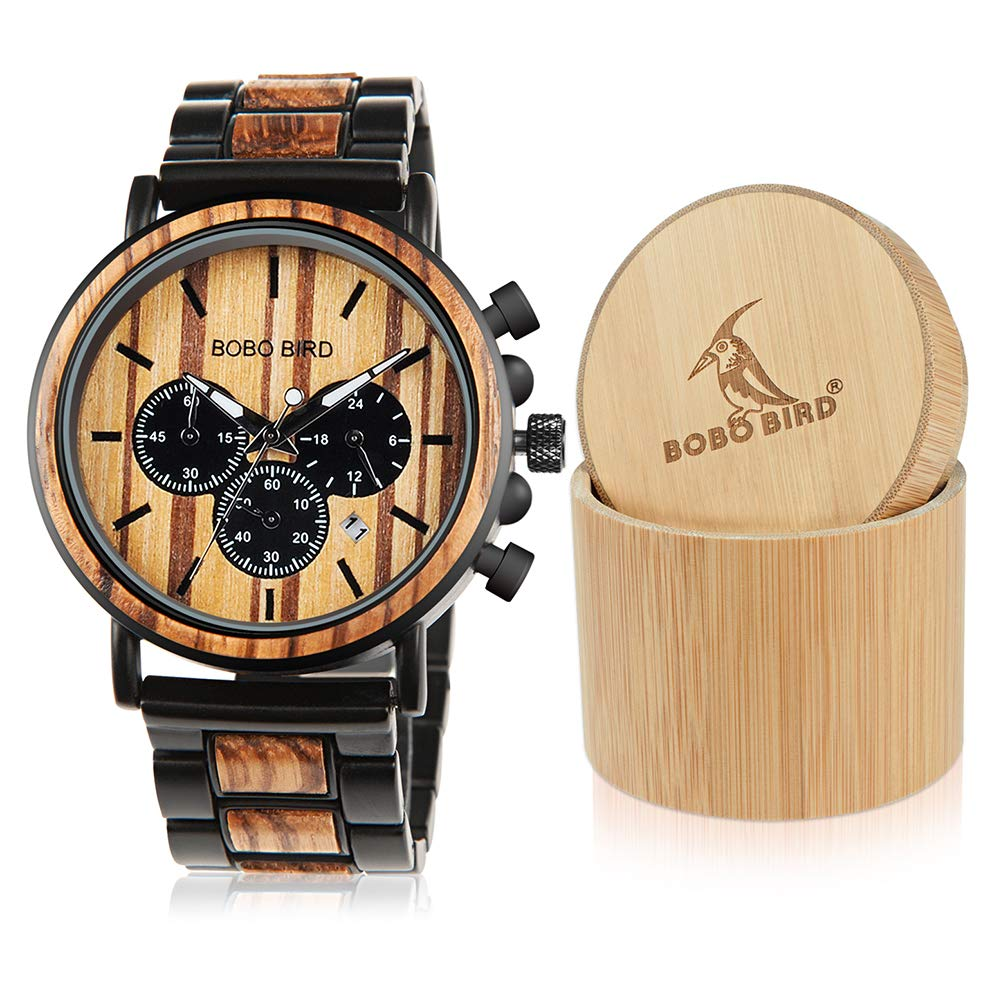 CDM product BOBO BIRD Wooden Mens Watches Stylish Wood & Stainless Steel Combined Chronograph Military Quartz Casual Wristwatches big image