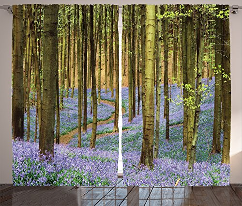 Ambesonne Farm House Decor Collection, Curving Path Through Deep in the Forest Lavenders Magical Spring Road Scenery, Living Room Bedroom Curtain 2 Panels Set, 108 X 84 Inches, Green Purple Brown (Curtains Brown Purple)