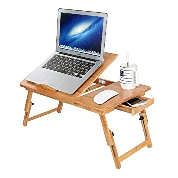 Mesa de cama plegable ordenador ajustable soporte para portátil con cajón escritorio PC de bambú bandeja